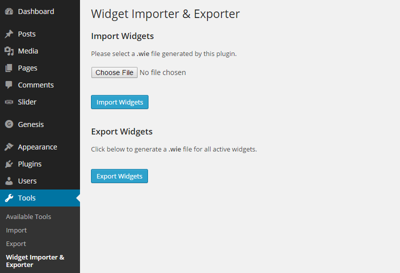 Import widgets data