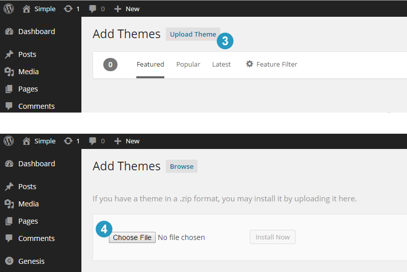 Uploading Genesis Themes in WordPress