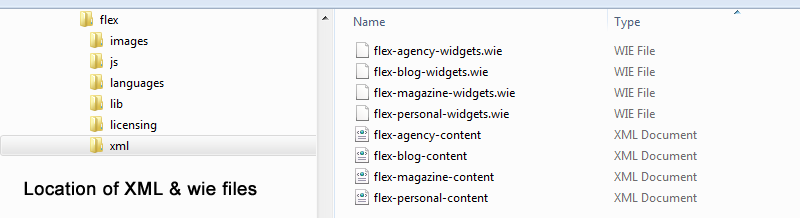 location of xml and wie files for data import