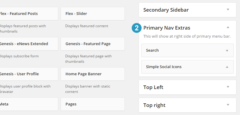 Primary Menu nav extras widget area setup